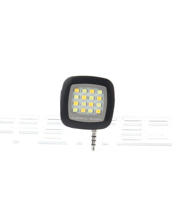 16*3528 50LM 3-Mode Camera Video Night Fill Light for Cell Phones (3.5mm Jack)