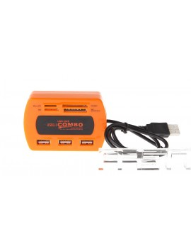 2-in-1 3-Port USB 2.0 Hub + Card Reader Combo
