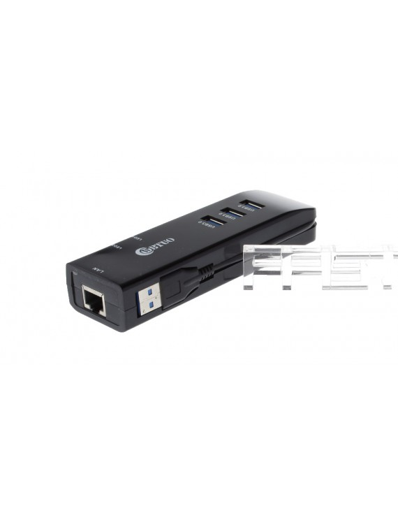USB 3.0 Type A Male to 3-Port USB 3.0 Female Hub w/ RJ45 Port